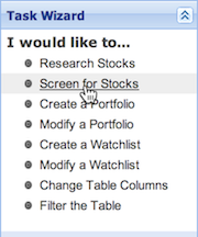 Screening for Stocks in the Task Wizard