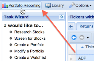 portfolio reporting button