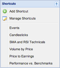 shortcuts menu
