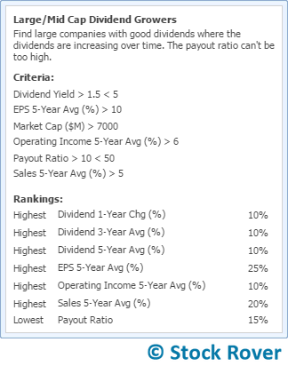 dividend growers screener