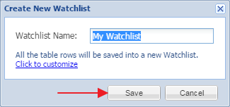 create new watchlist window