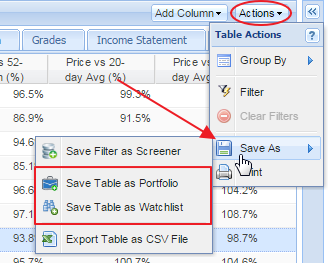 click save button in table and save as watchlist