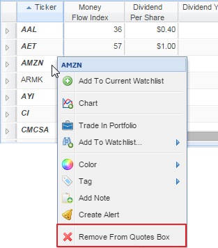 watchlist in the quotes box