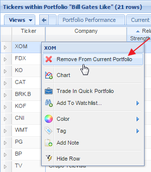 right-click stock to remove from portfolio
