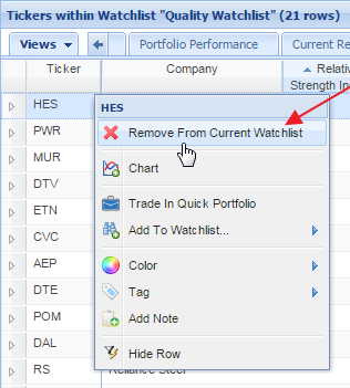 right-click stock to remove from watchlist