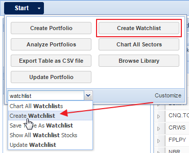 right-click on watchlists