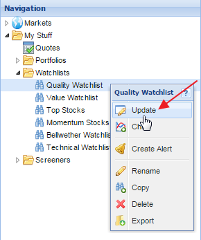 right-click watchlist to edit