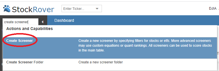 create new screener through task wizard