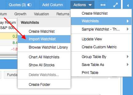 right-click to import a watchlist