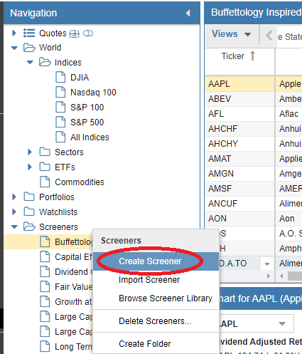 Screener's drop-down menu
