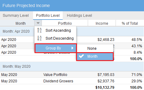 Future Income Portfolio Month Grouping