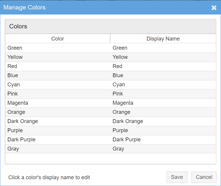 Manage Color Names